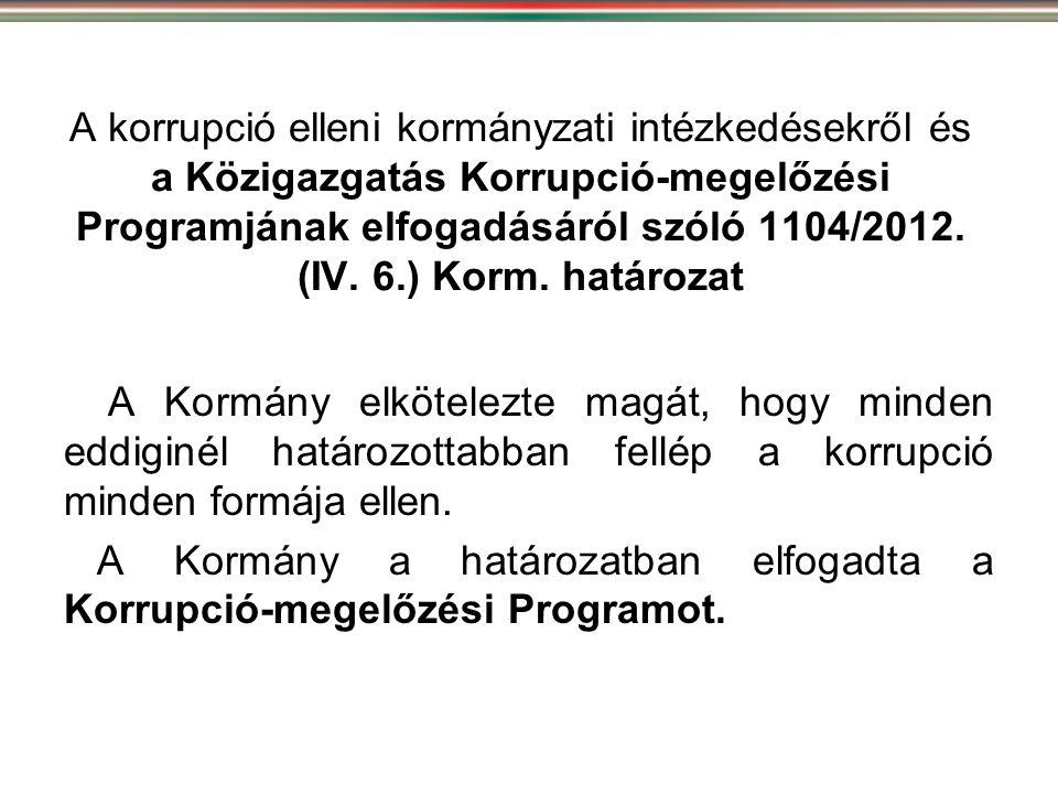 A korrupció elleni kormányzati intézkedésekről és a Közigazgatás Korrupció-megelőzési Programjának elfogadásáról szóló 1104/2012. (IV. 6.) Korm. határozat