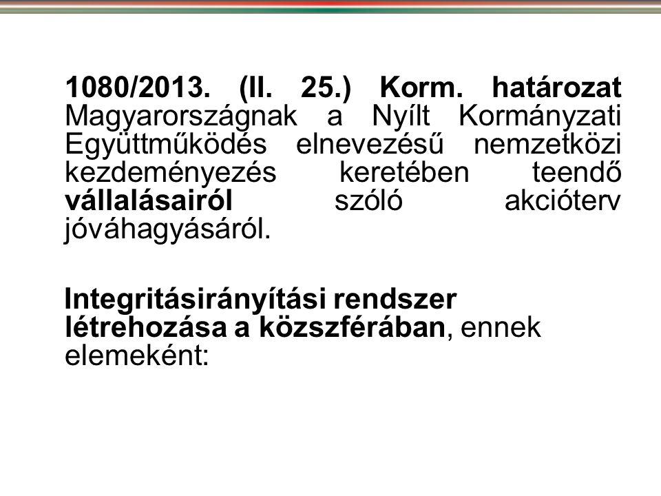 1080/2013. (II. 25.) Korm. határozat Magyarországnak a Nyílt Kormányzati Együttműködés elnevezésű nemzetközi kezdeményezés keretében teendő vállalásairól szóló akcióterv jóváhagyásáról.
