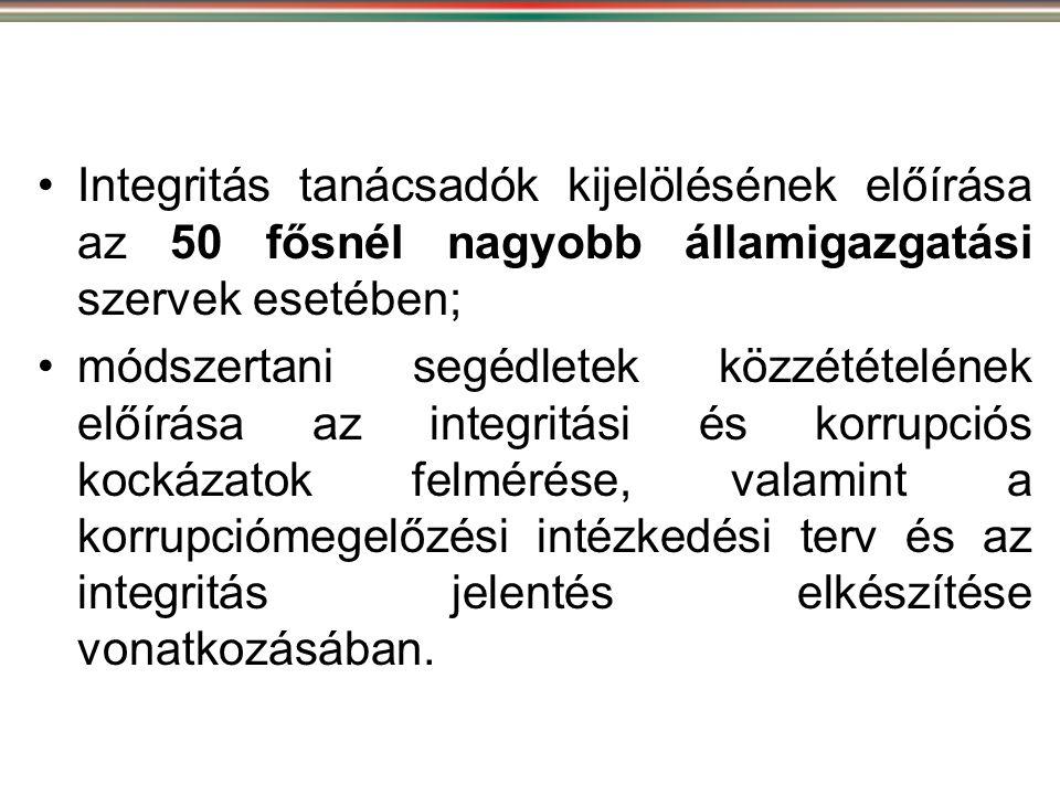 Integritás tanácsadók kijelölésének előírása az 50 fősnél nagyobb államigazgatási szervek esetében;