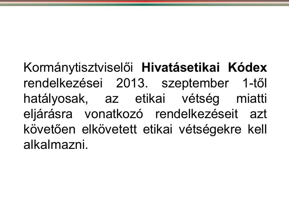 Kormánytisztviselői Hivatásetikai Kódex rendelkezései 2013
