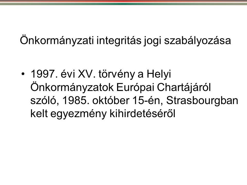 Önkormányzati integritás jogi szabályozása