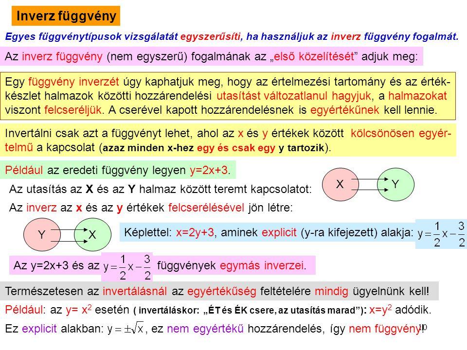 Inverz függvény Egyes függvénytípusok vizsgálatát egyszerűsíti, ha használjuk az inverz függvény fogalmát.