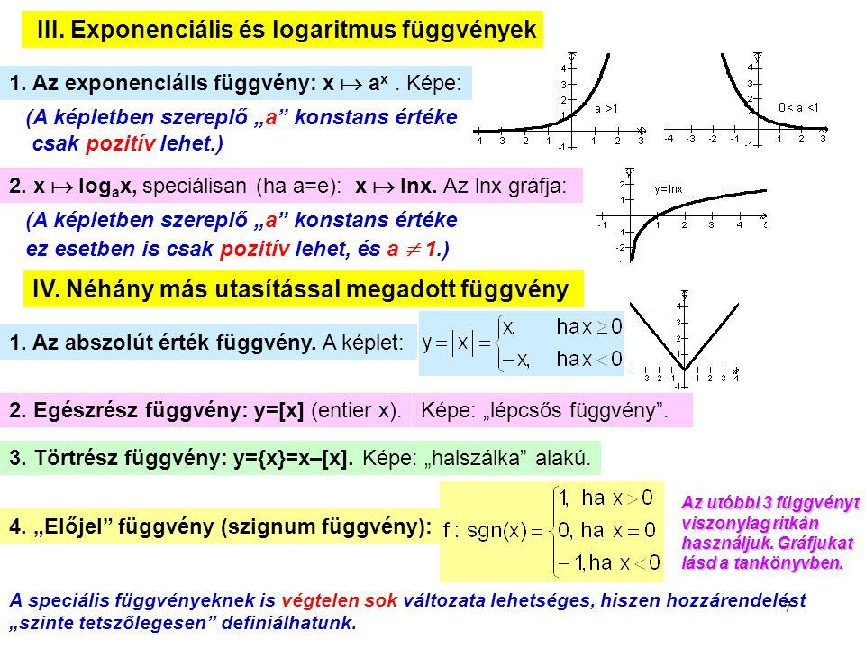 III. Exponenciális és logaritmus függvények