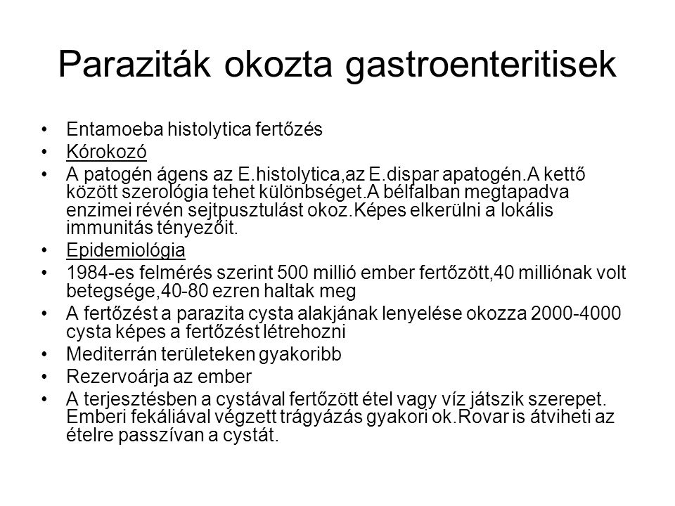 Paraziták okozta gastroenteritisek