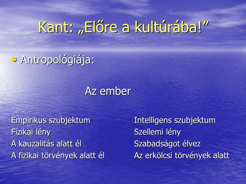 """Kant: """"Előre a kultúrába!"""