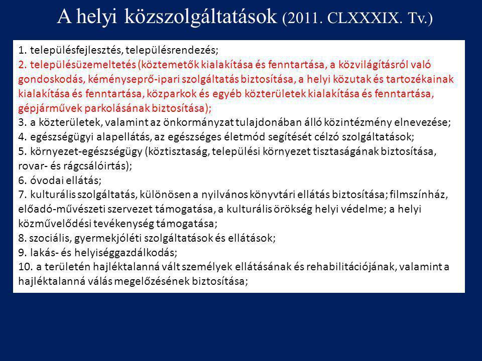 A helyi közszolgáltatások (2011. CLXXXIX. Tv.)