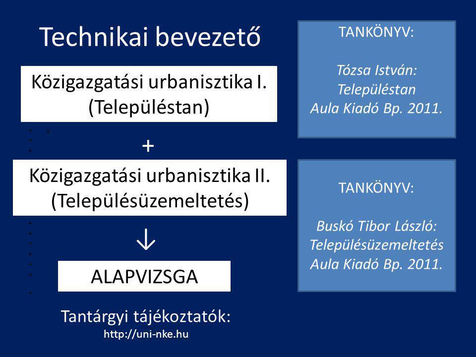 Technikai bevezető + ↓ Közigazgatási urbanisztika I. (Településtan)