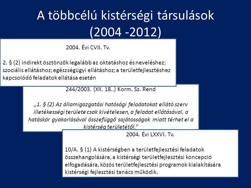 A többcélú kistérségi társulások (2004 -2012)