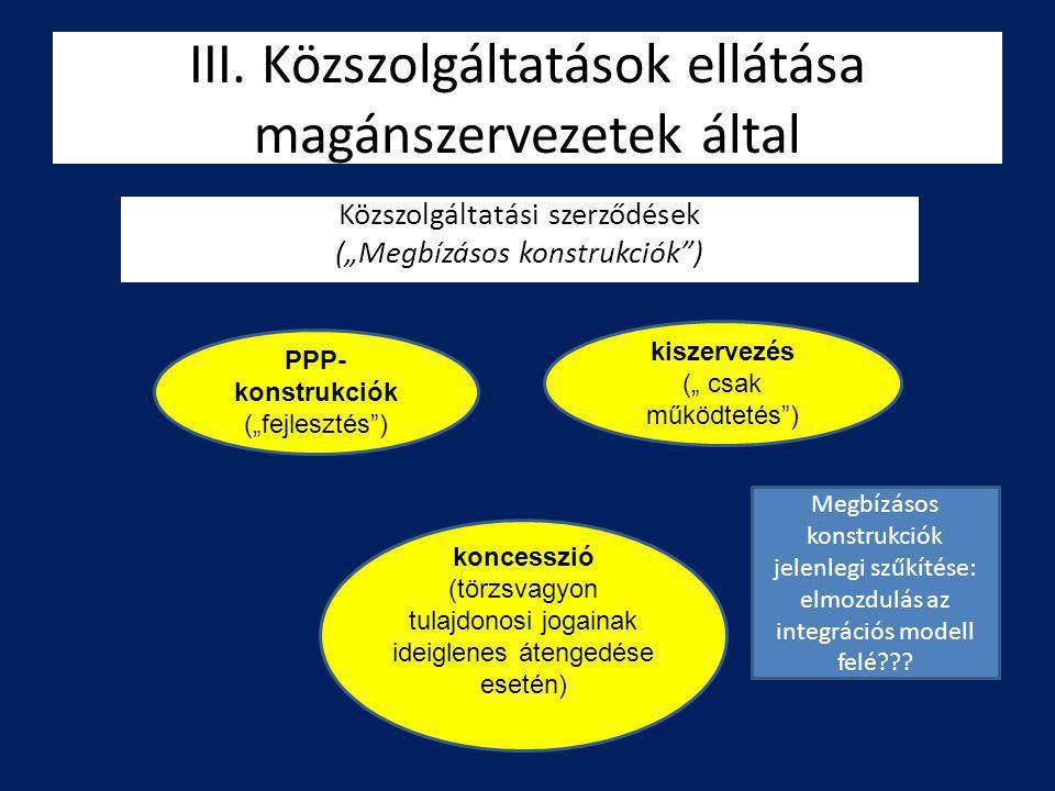 III. Közszolgáltatások ellátása magánszervezetek által