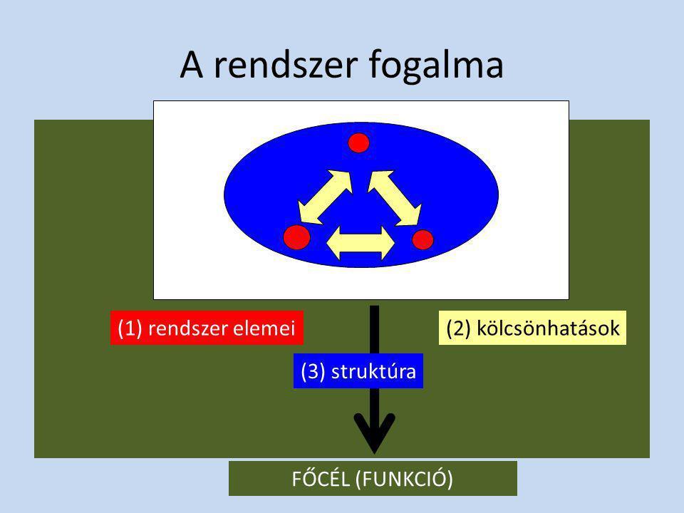 A rendszer fogalma (1) rendszer elemei (2) kölcsönhatások