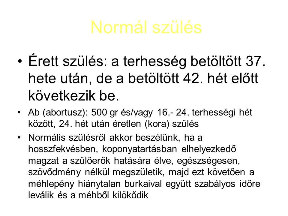 Normál szülés Érett szülés: a terhesség betöltött 37. hete után, de a betöltött 42. hét előtt következik be.