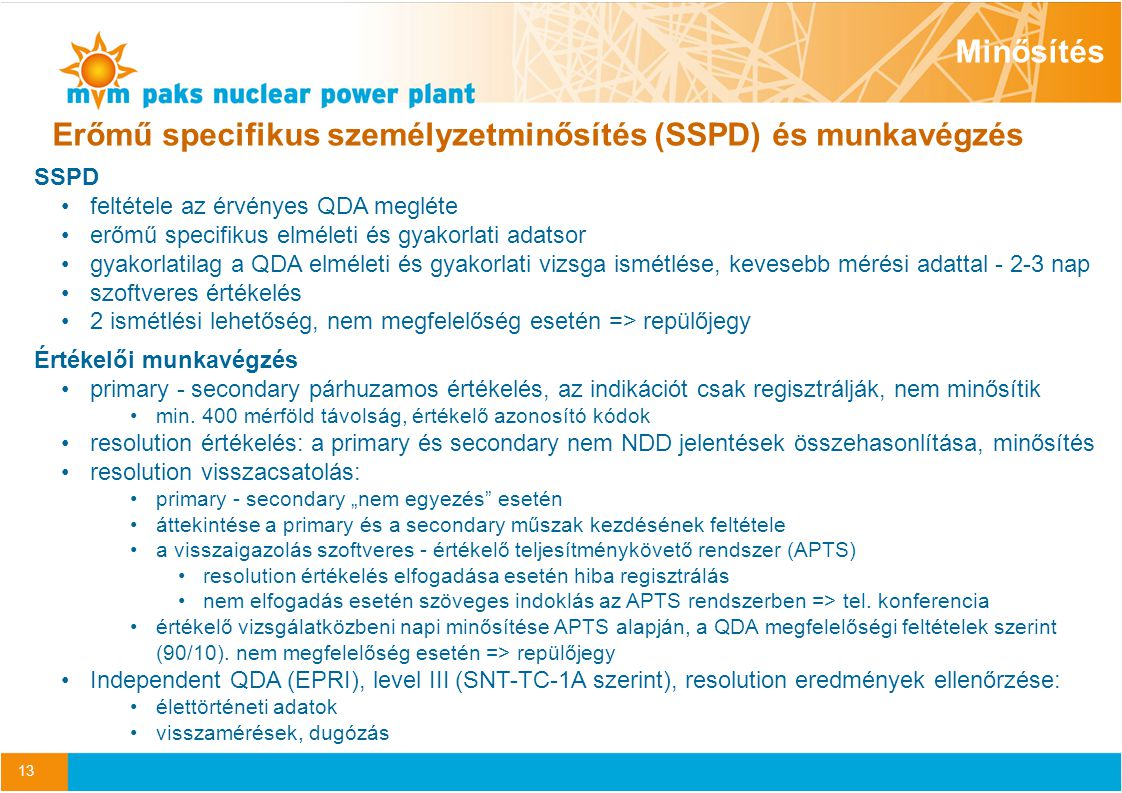Erőmű specifikus személyzetminősítés (SSPD) és munkavégzés