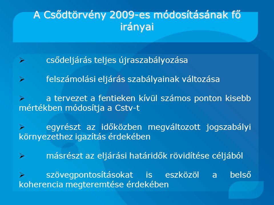 A Csődtörvény 2009-es módosításának fő irányai