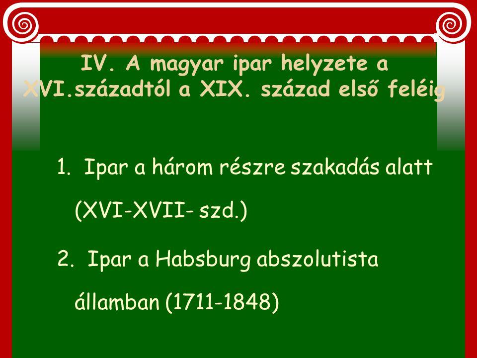 IV. A magyar ipar helyzete a XVI.századtól a XIX. század első feléig