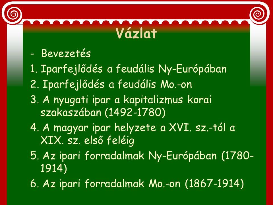 Vázlat - Bevezetés 1. Iparfejlődés a feudális Ny-Európában