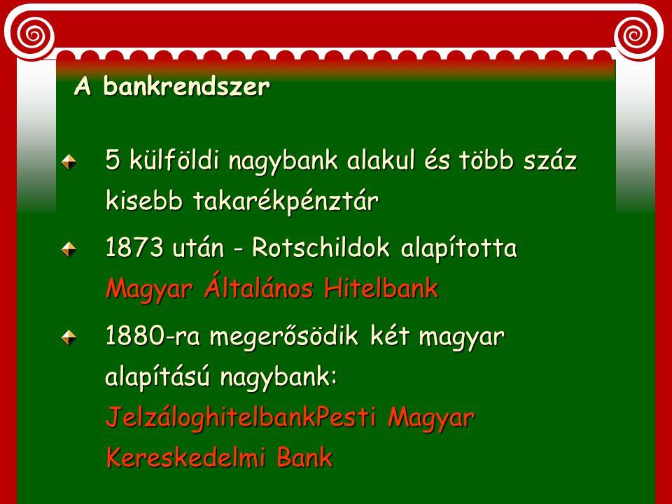 A bankrendszer 5 külföldi nagybank alakul és több száz kisebb takarékpénztár. 1873 után - Rotschildok alapította Magyar Általános Hitelbank.