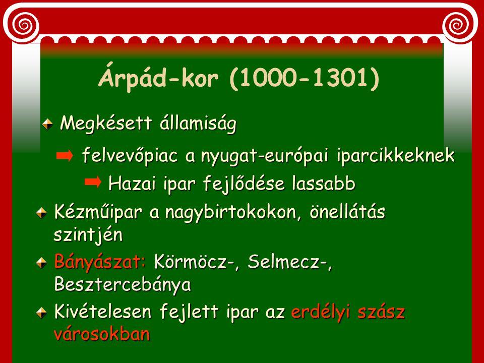 Árpád-kor (1000-1301) Megkésett államiság