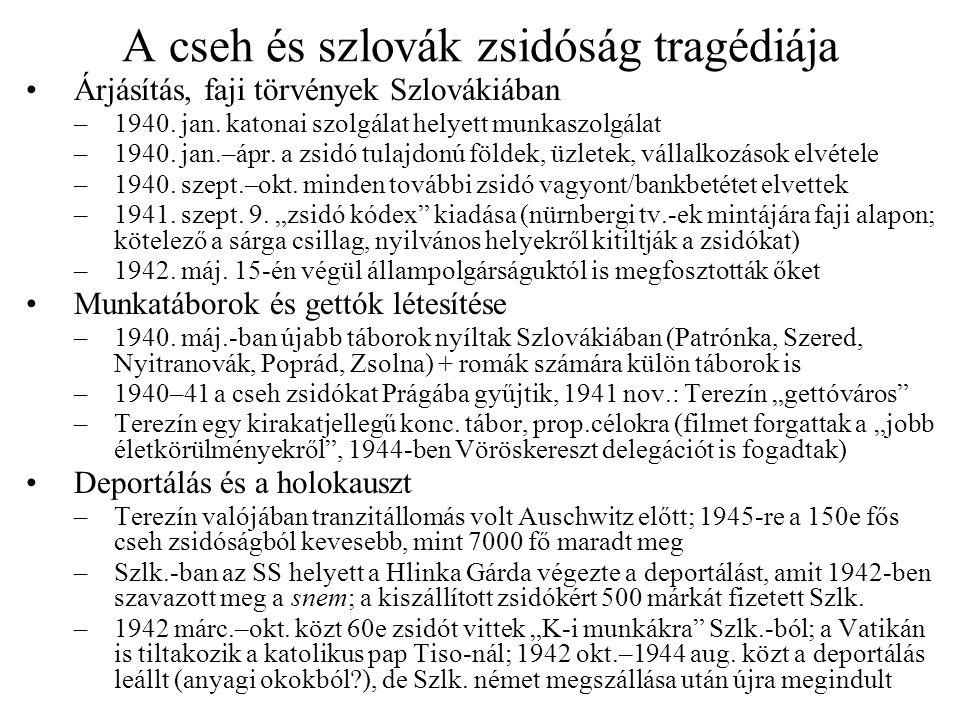 A cseh és szlovák zsidóság tragédiája