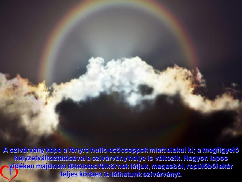 A szivárvány képe a fényre hulló esőcseppek miatt alakul ki; a megfigyelő helyzetváltoztatásával a szivárvány helye is változik.