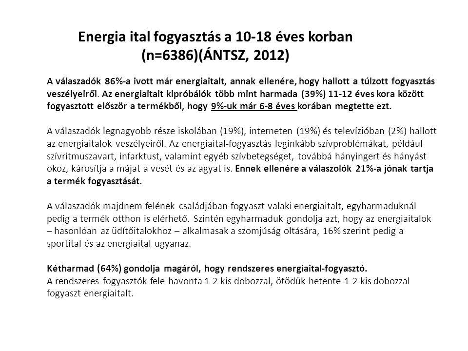 Energia ital fogyasztás a 10-18 éves korban (n=6386)(ÁNTSZ, 2012)