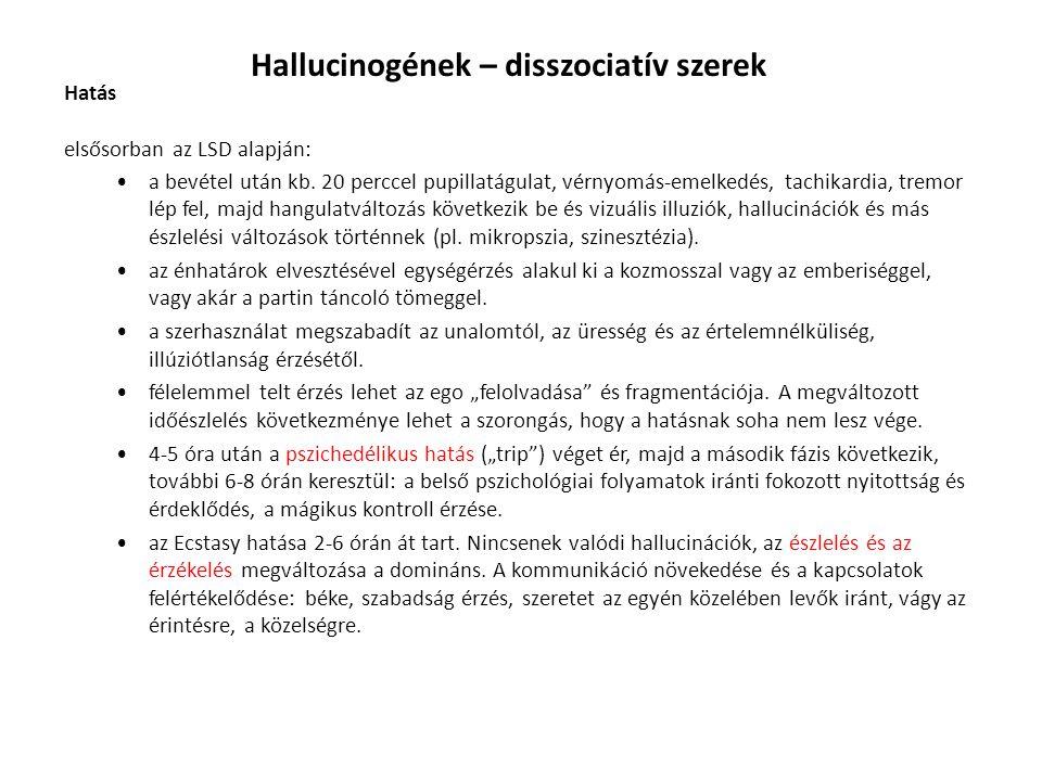 Hallucinogének – disszociatív szerek