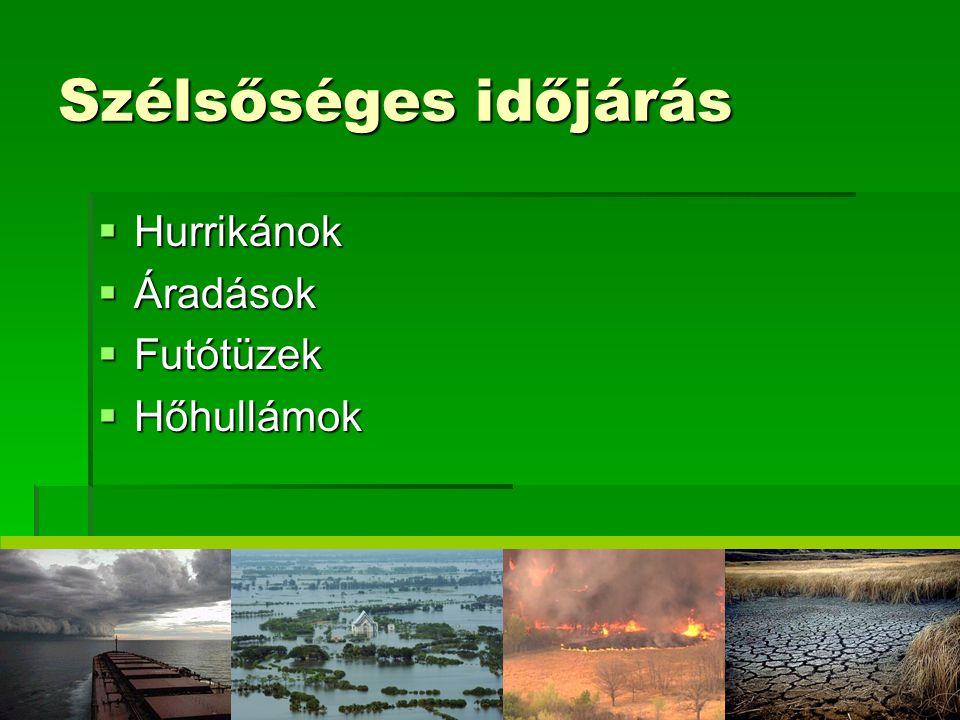 Szélsőséges időjárás Hurrikánok Áradások Futótüzek Hőhullámok