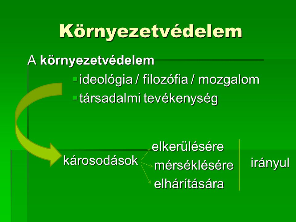 Környezetvédelem A környezetvédelem ideológia / filozófia / mozgalom