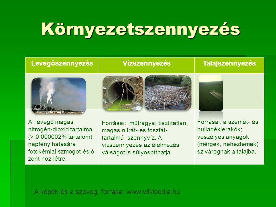 Környezetszennyezés Levegőszennyezés Vízszennyezés Talajszennyezés