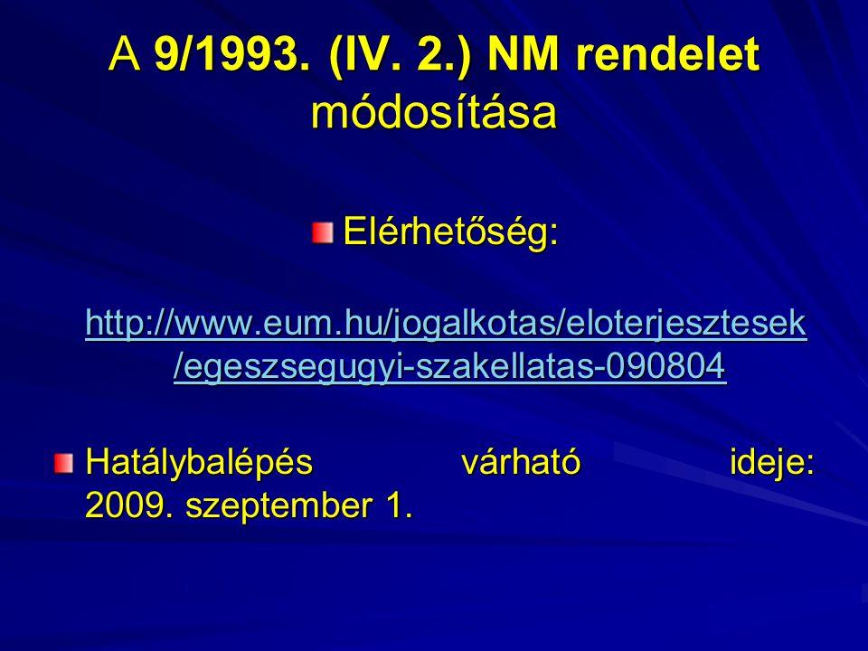 A 9/1993. (IV. 2.) NM rendelet módosítása