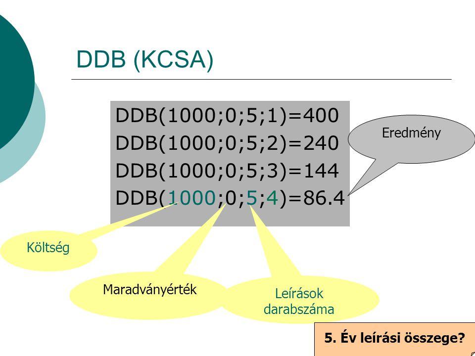 DDB (KCSA) DDB(1000;0;5;1)=400 DDB(1000;0;5;2)=240 DDB(1000;0;5;3)=144