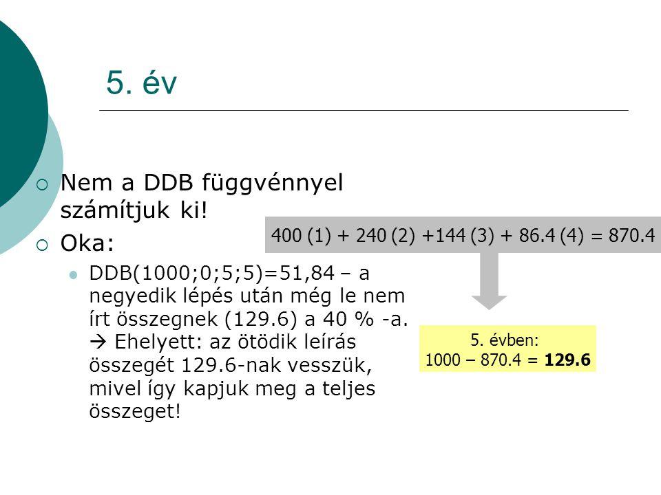 5. év Nem a DDB függvénnyel számítjuk ki! Oka: