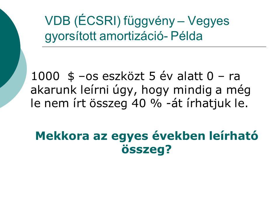 VDB (ÉCSRI) függvény – Vegyes gyorsított amortizáció- Példa