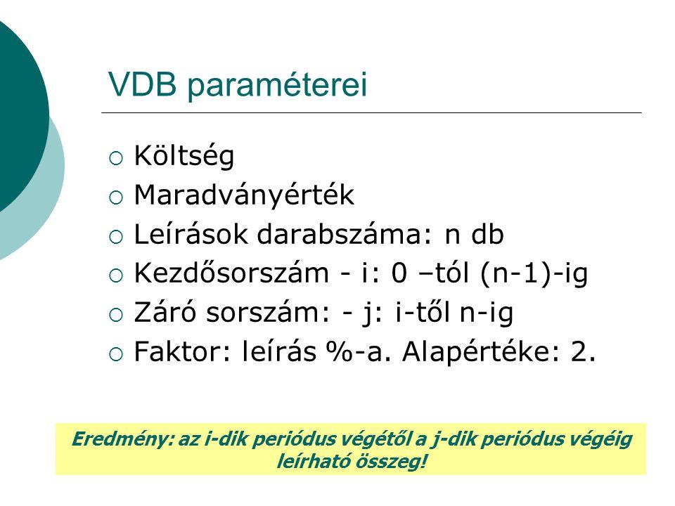 VDB paraméterei Költség Maradványérték Leírások darabszáma: n db