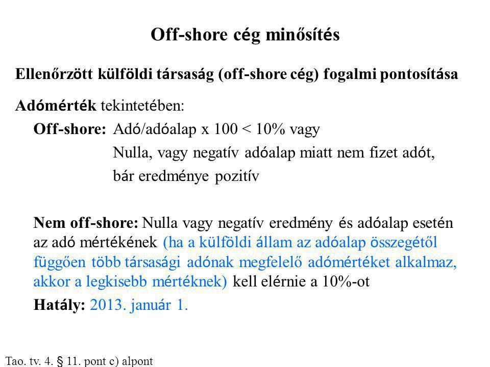 Off-shore cég minősítés