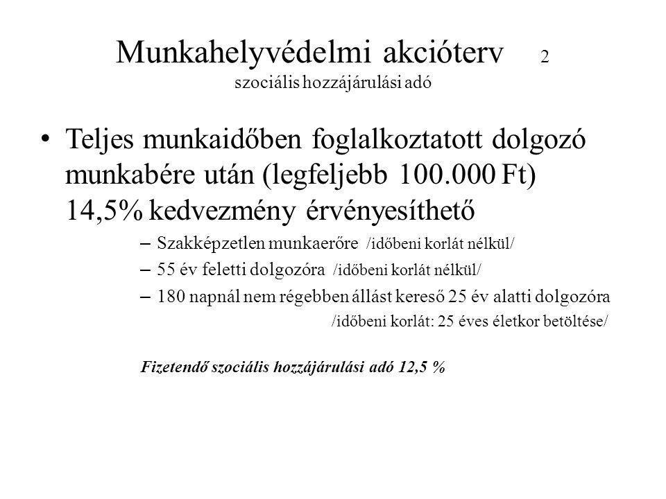 Munkahelyvédelmi akcióterv 2 szociális hozzájárulási adó