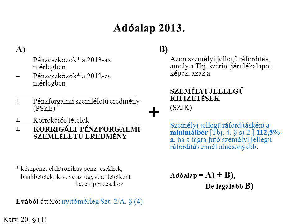 + Adóalap 2013. A) B) Pénzeszközök* a 2013-as mérlegben