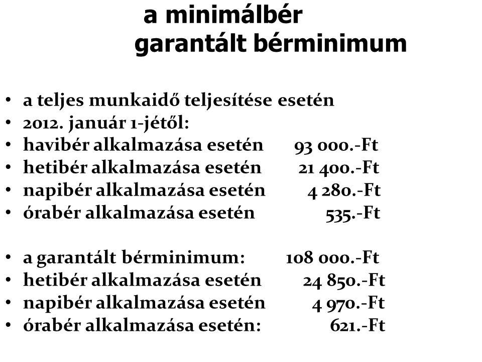 a minimálbér garantált bérminimum