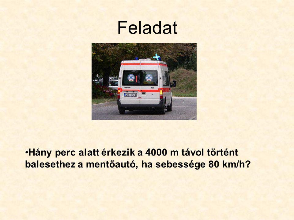 Feladat Hány perc alatt érkezik a 4000 m távol történt balesethez a mentőautó, ha sebessége 80 km/h