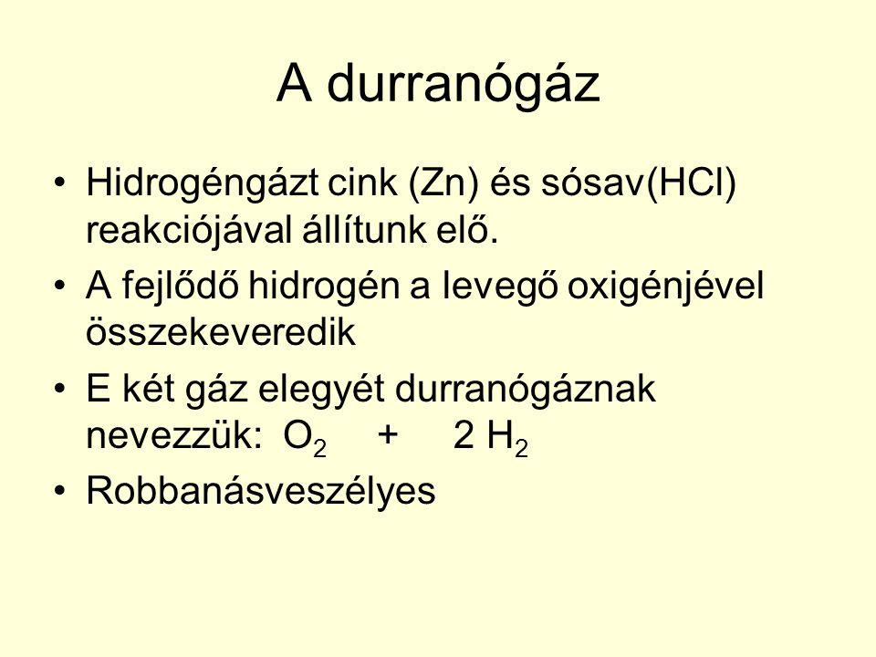 A durranógáz Hidrogéngázt cink (Zn) és sósav(HCl) reakciójával állítunk elő. A fejlődő hidrogén a levegő oxigénjével összekeveredik.