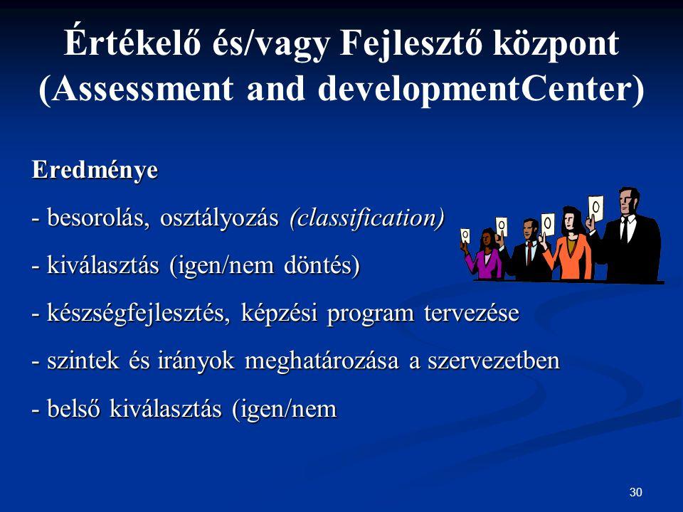 Értékelő és/vagy Fejlesztő központ (Assessment and developmentCenter)