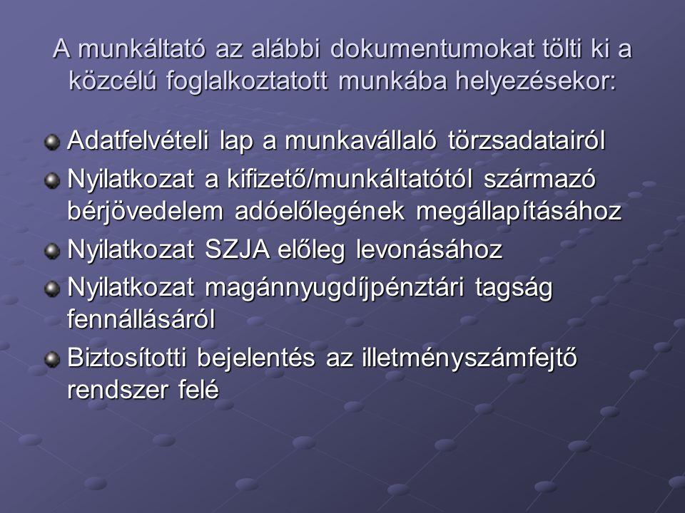 A munkáltató az alábbi dokumentumokat tölti ki a közcélú foglalkoztatott munkába helyezésekor: