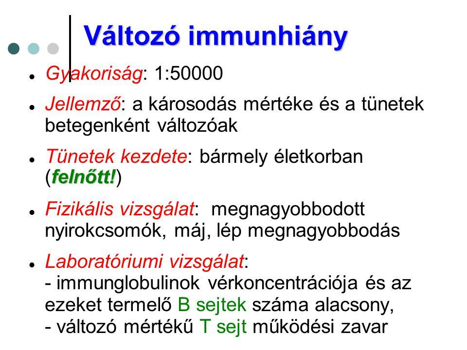 Változó immunhiány Gyakoriság: 1:50000