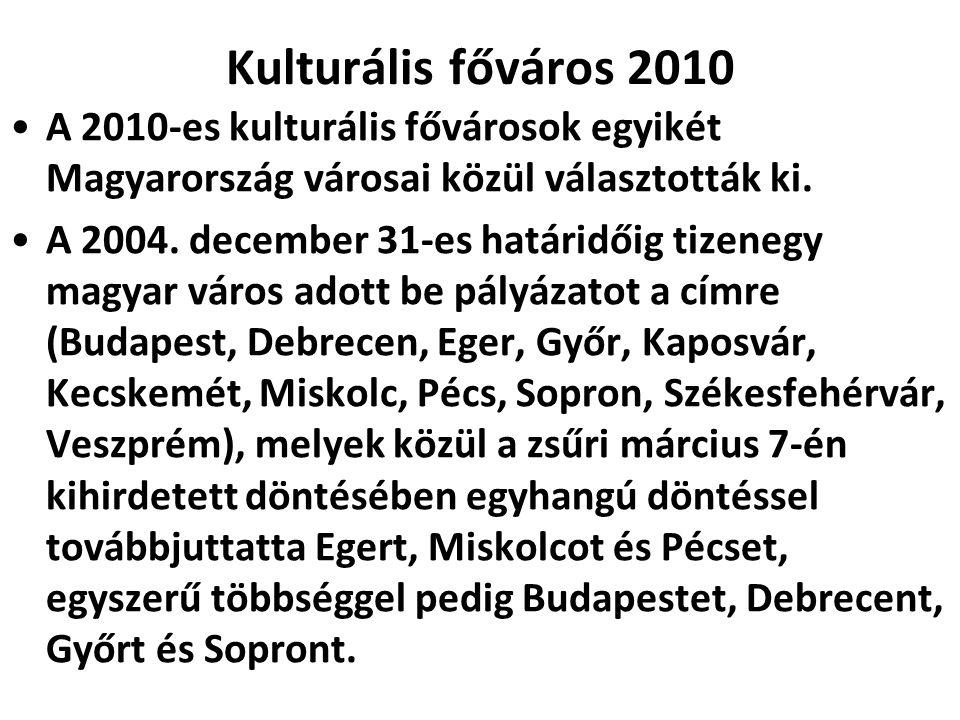 Kulturális főváros 2010 A 2010-es kulturális fővárosok egyikét Magyarország városai közül választották ki.