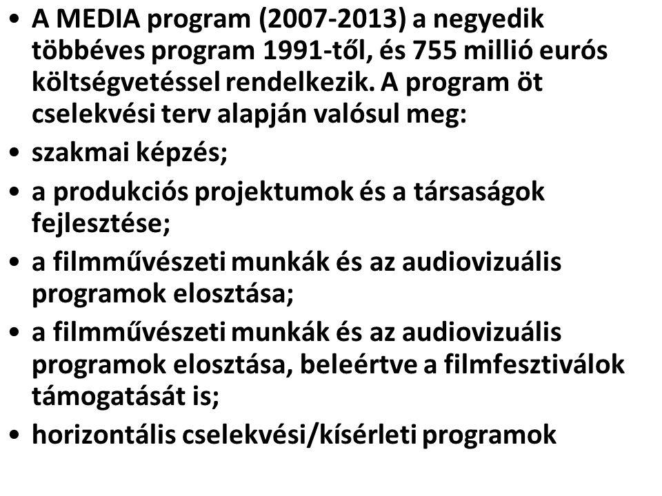 A MEDIA program (2007-2013) a negyedik többéves program 1991-től, és 755 millió eurós költségvetéssel rendelkezik. A program öt cselekvési terv alapján valósul meg: