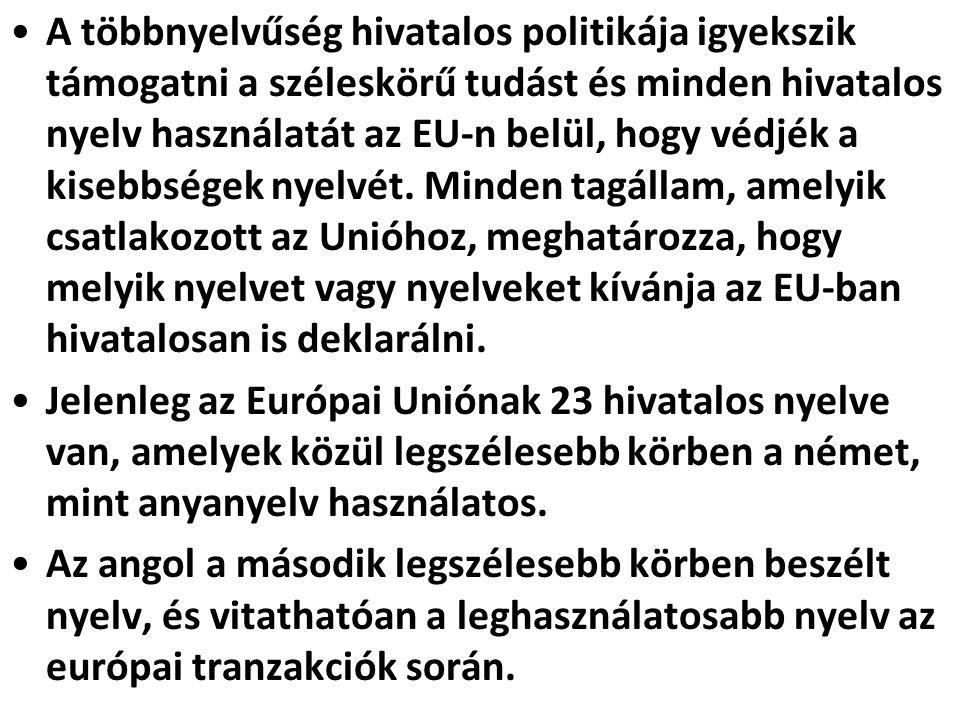 A többnyelvűség hivatalos politikája igyekszik támogatni a széleskörű tudást és minden hivatalos nyelv használatát az EU-n belül, hogy védjék a kisebbségek nyelvét. Minden tagállam, amelyik csatlakozott az Unióhoz, meghatározza, hogy melyik nyelvet vagy nyelveket kívánja az EU-ban hivatalosan is deklarálni.
