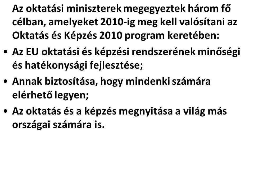 Az oktatási miniszterek megegyeztek három fő célban, amelyeket 2010-ig meg kell valósítani az Oktatás és Képzés 2010 program keretében: