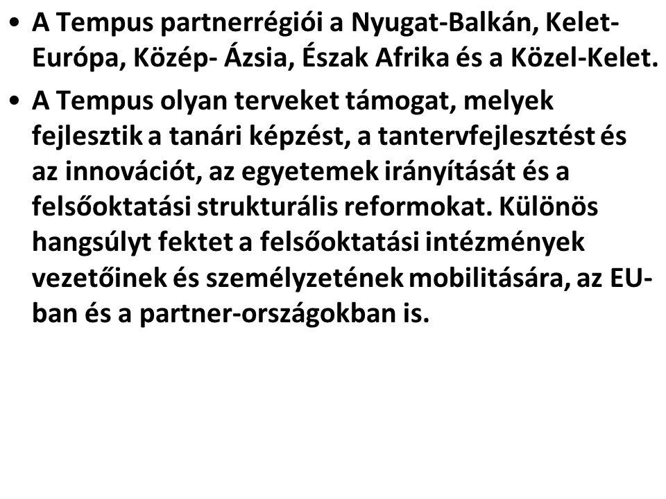 A Tempus partnerrégiói a Nyugat-Balkán, Kelet-Európa, Közép- Ázsia, Észak Afrika és a Közel-Kelet.