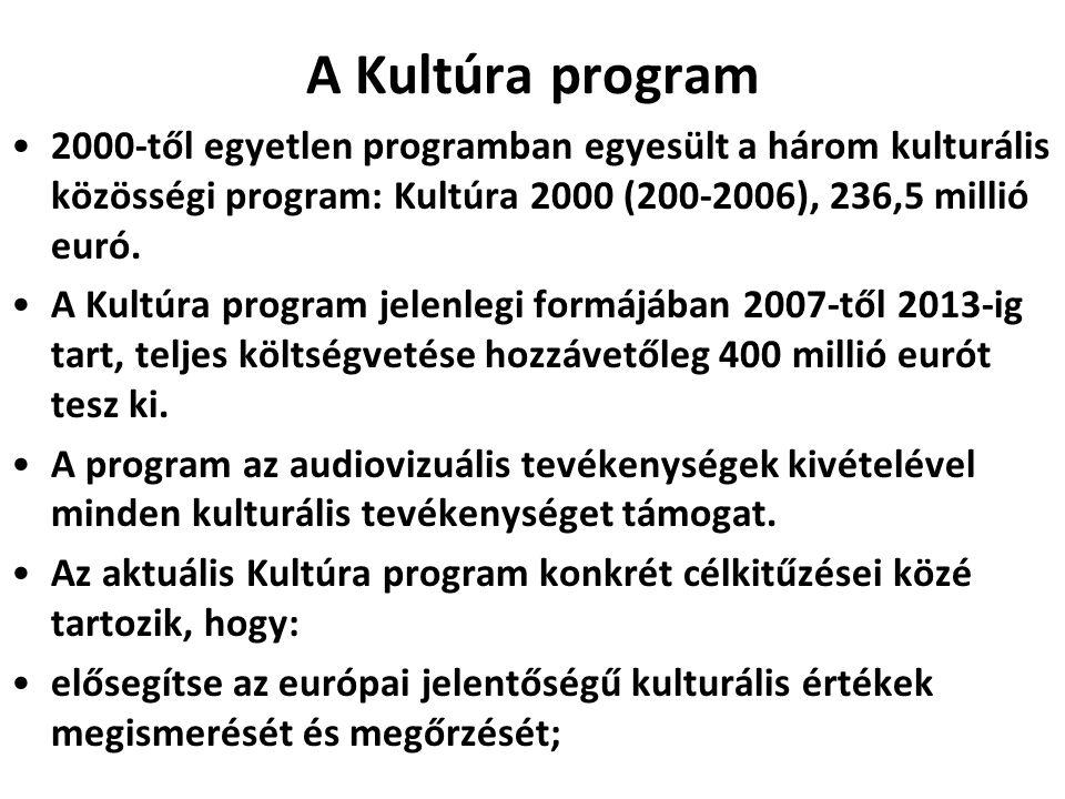 A Kultúra program 2000-től egyetlen programban egyesült a három kulturális közösségi program: Kultúra 2000 (200-2006), 236,5 millió euró.