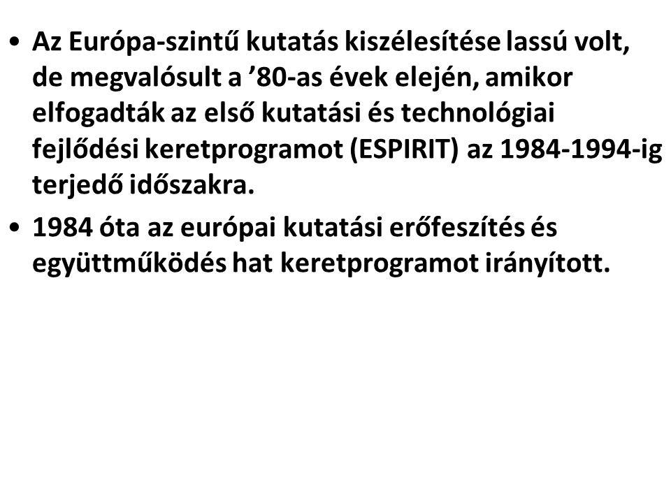 Az Európa-szintű kutatás kiszélesítése lassú volt, de megvalósult a '80-as évek elején, amikor elfogadták az első kutatási és technológiai fejlődési keretprogramot (ESPIRIT) az 1984-1994-ig terjedő időszakra.