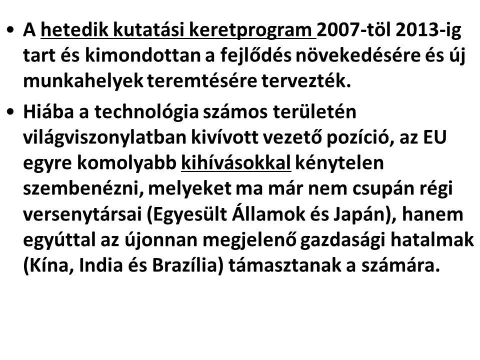 A hetedik kutatási keretprogram 2007-töl 2013-ig tart és kimondottan a fejlődés növekedésére és új munkahelyek teremtésére tervezték.